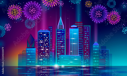 New Year Polygonal Point Line Dark Blue Night Sky Eve Greeting Card Template Glowing Light Party City Silhouette Vector See More
