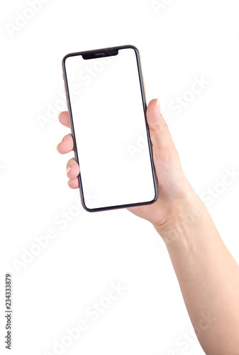 Photo  Smartphone with a blank white screen