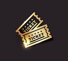 Vector Golden Vintage Ticket Icon On Dark Background. Gold On Black