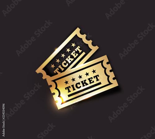 Fotografía  Vector Golden Vintage Ticket Icon on dark background
