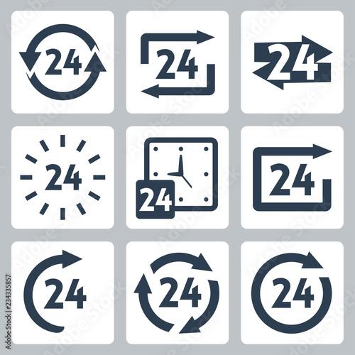 Fényképezés  Vector '24 hours' icons set