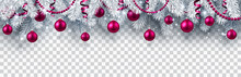 Christmas And New Year Banner With Fir Branches And Pink Christmas Balls On Transparent Background.