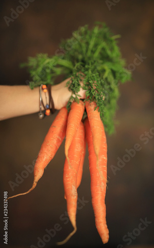 Donna con un mazzo carote in mano