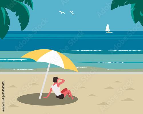 Obraz Rest on sea beach. Vacation on seashore coast. Young girl rests under sun umbrella on sand beach. Concept to relax, enjoy calm ocean marine landscape scenic view. Minimal style. Vector illustration - fototapety do salonu