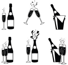 Vector Illustrations Of Several Champagne Icons