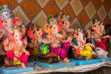 Idols Of Hindu Lord Ganesh/Ganesha Being Sold In Goa, India On The Occasion Of Ganesh Chaturthi Festival
