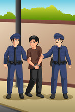 Police Officers Catching A Criminal Illustration
