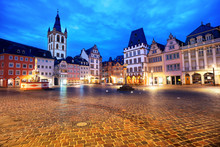 Trier, Germany, Colorful Gothic Houses In The Old Town Main Market Square