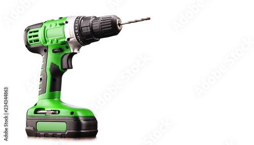 Carta da parati Cordless drill with drill bit working also as screw gun