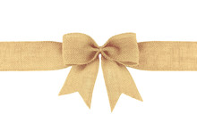 Vintage Burlap Ribbon Bow Isolated On White Background