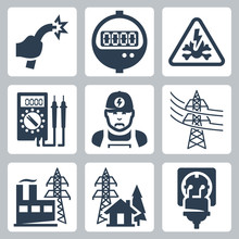 Vector Power Industry Icons Set: Bared Wire, Supply Meter, Danger Sign, Multimeter, Electrician, Power Line, Power Plant, Power Supply, Plug And Receptacle