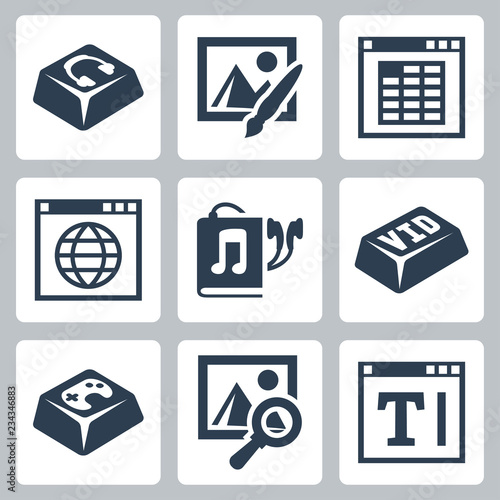 Photo Vector isolated applications icons set: audio player, image editor, spreadsheet