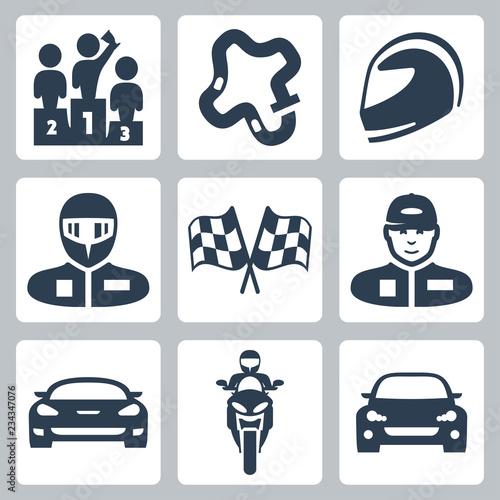 Fotomural Vector race icons: podium, track, helmet, racer in helmet, racing flag, racer in
