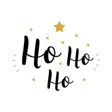 Ho Ho Ho Christmas Vector Gold Greeting Text Lettering White Background
