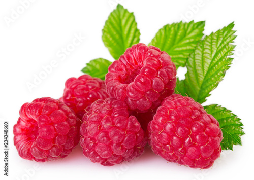 Poster Fruit Fresh raspberry with leaf on white background