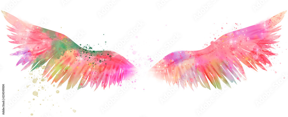 Fototapety, obrazy: magic watercolor wings