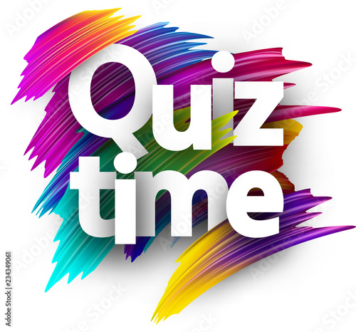 Fototapeta Quiz time card with colorful brush strokes. obraz na płótnie