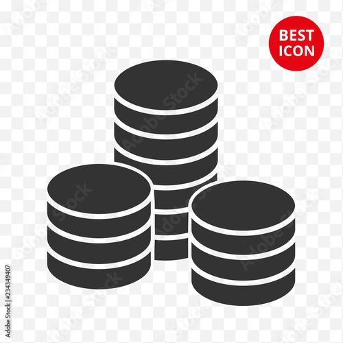 Coins Stack Vector Isolated Ilration Modern Coin Stacked Icon Flat Style Design Simple
