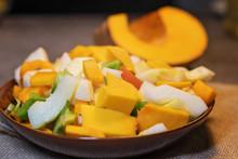 Fresh Vegetables (squash, Pumpkin, Tomatoes, Pepper..) Cut For Cooking. Vegetarian Dish.