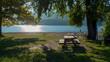 Ufer und Strand vonDongo, Ortsteil von Gravedona, mit Blick über den See, in Richtung Bellagio