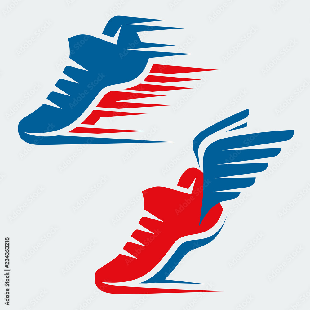 Fototapeta Running shoes with speed and motion trails and with wings