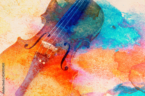 Abstract violin background - violin lying on the table Wallpaper Mural