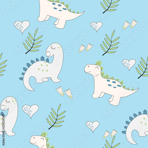 Photo  Cute baby dinosaur seamless pattern on the light blue background