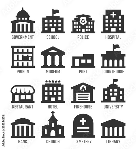 Fotomural Government buildings vector icon set