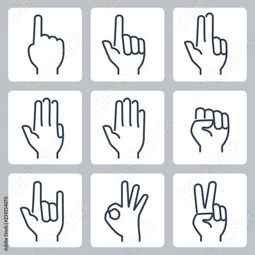 Fototapeta Vector hands icons set: finger counting, stop gesture, fist, devil horns gesture, okay gesture, v sign obraz na płótnie