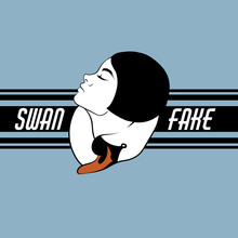 Swan Fake. Vector Hand Drawn Illustration Of Girl With Swan. Template For Card, Poster, Banner, Print For T-shirt, Pin And Badge.