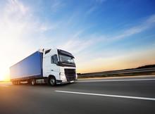 Loaded European Truck On Motorway In Sunset