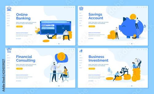 Fototapeta Set of flat design web page templates of online banking, financial consulting, savings, business investment. Modern vector illustration concepts for website and mobile website development.  obraz