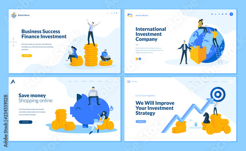 Photo  Set of flat design web page templates of finance, business success, investment, online shopping