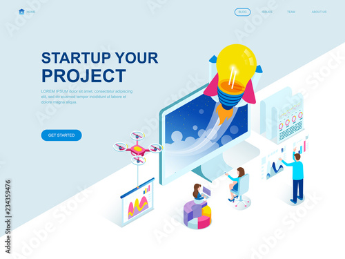 Photo  Modern flat design isometric concept of Startup Your Project decorated people character for website and mobile website development