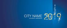 New Year 2019 Gold Firework City Countdown Celebrations Invitation Blue Background