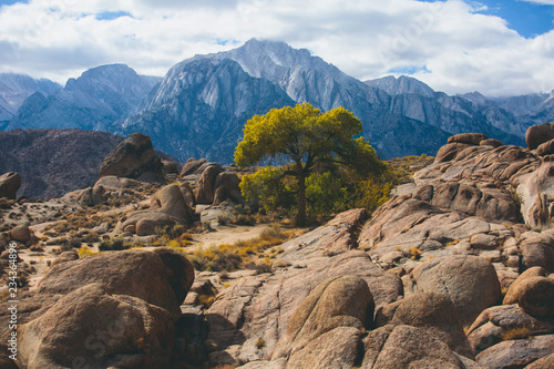 Keuken foto achterwand Verenigde Staten View of Alabama Hills, famous filming location rock formations near the eastern slope of Sierra Nevada, Owens Valley, west of Lone Pine in Inyo County, Inyo National Forest, California, United States.