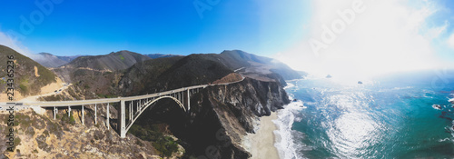 Keuken foto achterwand Verenigde Staten Aerial panoramic view of historic Bixby Creek Bridge along world famous Pacific Coast Highway 1 in summer sunny day , Monterey County, California, USA, shot from drone