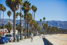 Beautiful View Of Santa Barbara Ocean Front Walk, With Beach And Marina, Palms And Mountains, Santa Ynez Mountains And Pacific Ocean, Santa Barbara County, California, United States, Summer Sunny Day