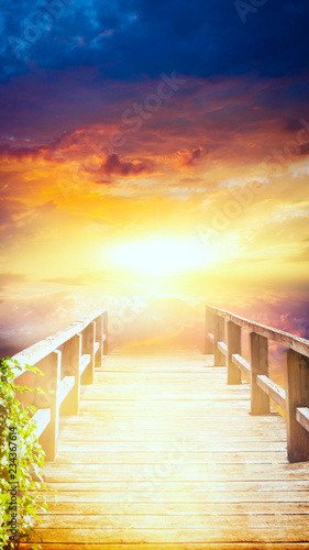 Spoed Foto op Canvas Zwavel geel Way to sky . Stairway to heaven . Way to God . bright light from heaven . Religious background . Light from sky . Light at the End of the