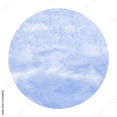 Cadres-photo bureau Aquarelle la Nature Blue hand drawn watercolor circular frame background texture with stains
