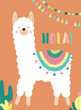 Vector illustration of a white llama or alpaca in clothes with national motifs and cacti, garlands and the word Hola on an orange background. Image for children, cards, invitation, print, textiles.