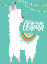 Vector Illustration Of A Cute White Alpaca In Clothes With National Motives, Decorations With An Inscription No Drama Llama On A Blue Background. Image For Children, Cards, Invitation, Print, Textiles