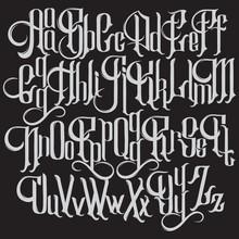 Vector Handwritten Gothic Font...