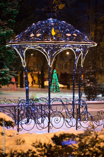 Poster Kaki Christmas tree on the main Square on a winter night in snow