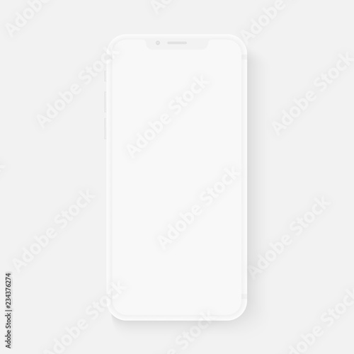 Totally soft realistic white vector smartphone. 3d realistic phone template for inserting any UI interface test or business presentation. Floating soft mock up design.