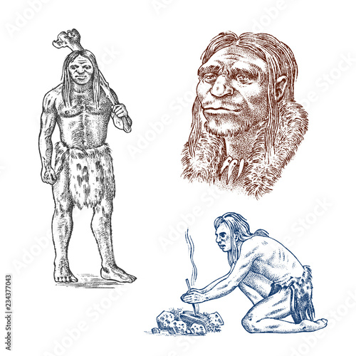 Primitive People Prehistoric Period Ancient Tribe Cave Barbarian