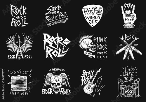 Valokuva Set of Rock and Roll music symbols with Guitar Wings Skull, Drums Plectrum