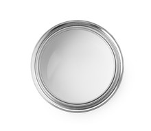 Open Paint Can On White Background, Top View