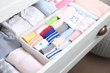 Wardrobe Drawer With Many Child Socks, Closeup