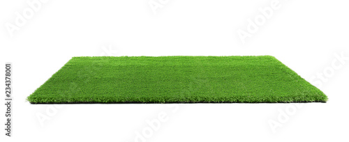 Photo Stands Grass Artificial grass carpet on white background. Exterior element